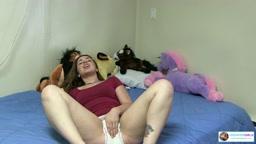 Adriana masturbates in her wet pullups